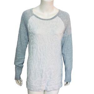 BASS | Women's Metallic Silver Floral Sweater M